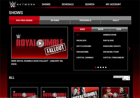 wwe network ppv events